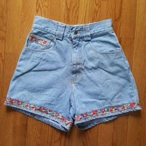Vintage 70's/80's High Waist Jeans Shorts Floral